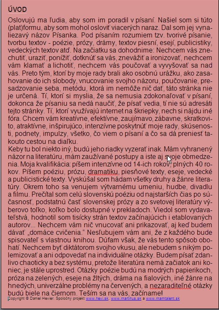 Písanka Daniela Heviera - Úvod